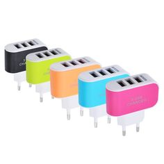 Universal 3 Ports USB Wall Charger Sales Online black eu - Tomtop