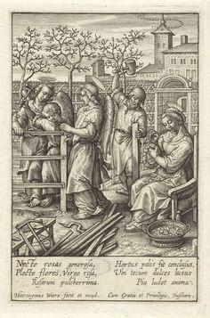 Christuskind timmert een hek, Hieronymus Wierix, 1563 - voor 1619