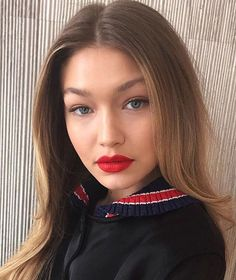@gigihadid slaying in #vividmatte liquid in 'rebel red'. and makeup by @patrickta #regram #maybellinegirls