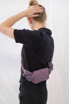 Mozh Mozh Crochet Knots Waist Bag | Garmentory Diy Crochet Bag, Crochet Belt, Hand Crochet, Textiles Techniques, Crochet Handbags, Belts For Women, Fabric Material, Sustainable Fashion, Knots