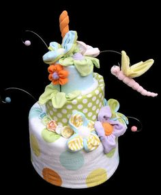 Diaper Cake for Baby Shower Gender Neutral Topsy by babyblossomco, $200.00