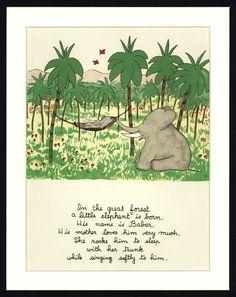 """Aquarelle encadrée """"Babar l'éléphant"""" - Jean de Brunhoff"""