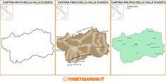Cartina Muta, Fisica e Politica della Valle d'Aosta da Stampare