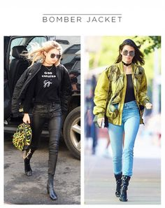 Kendall and Gigi are some of our favorite style icons and despite wearing the same trend of a bomber jacket, the two super models style them SO differently What To Wear Today, Who What Wear, How To Wear, Gigi Hadid, Kendall Jenner, Star Fashion, Fashion Trends, Leggings, Celebrity Look