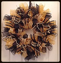 Black and Gold Deco Mesh Wreath/Black and Gold by CKDazzlingDesign