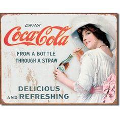Coca Cola Coke Thru a Straw Girl Vintage Advertising Retro Metal Tin Sign New Coca Cola Drink, Cola Drinks, Coca Cola Ad, Vintage Advertising Signs, Vintage Advertisements, Vintage Ads, Vintage Signs, Vintage Style, Vintage Posters