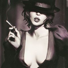 Noir study from photo~■ Women Smoking Cigars, Smoking Ladies, Girl Smoking, Beauty Fotos, Mode Pin Up, Erotic Art, Black And White Photography, Art Girl, Portrait Photography