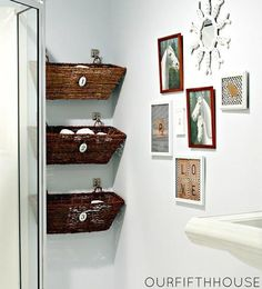 Wall mounted wicker window boxes or baskets