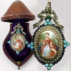Antique French Enamel Portrait Miniature Mourning Pendant, 18k and Seed Pearls, Original Etui. Photo credit: Antiques & Uncommon Treasure.