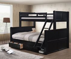 Dillon XL Full over Queen Wood Bead-Board Bunk Bed | Cabin Style XL Full Queen Bunk bed
