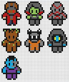 Guardians of the Galaxy marvel perler / hama bead, crochet, knitting and cross stitch patterns I made. Enjoy! Starlord, Gamora, Drax, Groot, Rocket Raccon, Ronin, Nebula