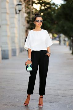 @roressclothes closet ideas #women fashion Simple Black and White Outfit Idea
