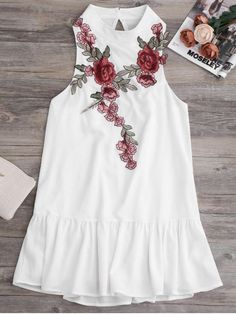 $16.49 Patches Frill Hem Mini Dress - WHITE S