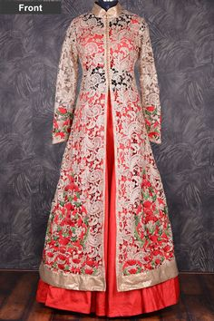 Emphasized gold cutwork jacket with red lehenga choli-GC1150 - Indo Western - #Gowns #gowns of elegance #Saree #indowestern gown #Fashion #RentalDresses #Gowns #Anarkali #LehngaCholi #Indowestern #Saree #Clothing #Online