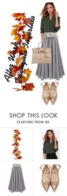 """After Work triángulo Invertido"" by anamayo on Polyvore featuring moda, Rokoko, Valentino y Hermès"