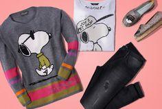 """Der bekannteste Beagle der Welt: """"Snoopy"""" gehört bei PRINCESS GOES HOLLYWOOD zu den absoluten Lieblingen! Die Comicfigur findet sich auf trendigen T-Shirts, Sweatern, Pullovern und Loungewear – jede Saison mit neuen Motiven."""