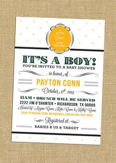 Baylor University Baby Shower Invites