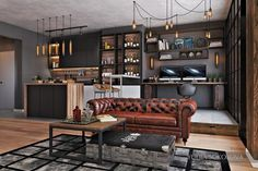 Vintage Industrial Decor How To Design Industrial Style Bachelor Pads: 4 Examples - Whether you are a bachelor looking to redo your loft or want to bring a bit of the city style into your own home, these inspirational lofts are sure to help. Modern Apartment Design, Modern Interior Design, Home Design, Design Ideas, Bachelor Pad Decor, Bachelor Pads, Bachelor Room, Living Room Modern, Living Room Designs
