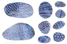 Indigo blue pebbles and patterns