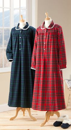 Lanz of Salzburg Classic Flannel Nightgown: Reminiscent of the comfy nightgowns we wore as kids. It's beautifully tailored in soft, brushed flannel and features a pretty Peter Pan collar accented with white eyelet lace trim.