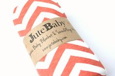 Organic Coral Chevron Baby Blanket by Jute Baby
