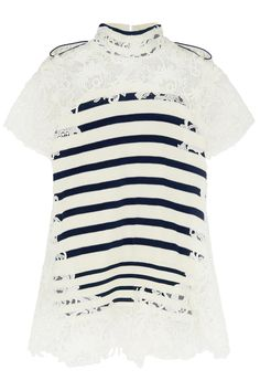 Sacai Striped Cotton And Guipure Lace Top | Nuji