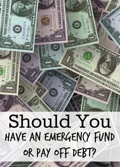 Emergency Fund or Pay off Debt? Some recommend that while you are paying off debt, that you keep just the bare minimum, such as $1,000 in your emergency fund. Others suggest that you build up your emergency fund FIRST and then pay off your debt. http://www.makingsenseofcents.com/2013/06/emergency-fund-or-pay-off-debt.html