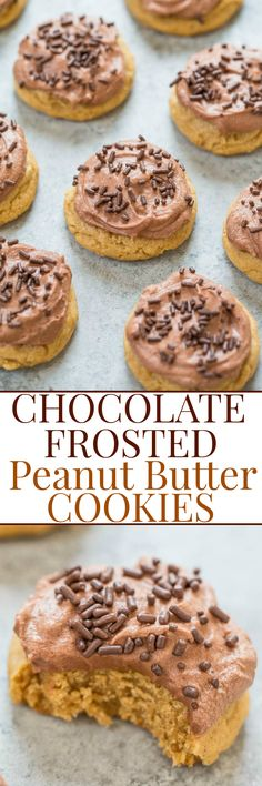 Chocolate Frosted Peanut Butter Cookies - Easy, soft, and chewy cookies that are full of rich peanut butter flavor!! The frosting is light, fluffy, AMAZING, and my new favorite! You'll want to eat it by the spoonful!!
