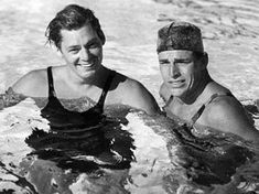 Two swim champs, Johnny Weissmuller and Buster Crabbe. (Thanx to Bobby Copeland.)