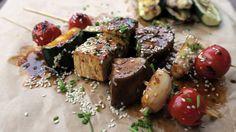 Grillspyd med grønnsaker og soyaglaze Tapas, Steak, Grilling, Recipies, Tofu, Squash, Vegan, Ethnic Recipes, Eggplant