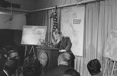 [Secretary of Defense, Robert McNamara standing at a podium in front of a map of Vietnam during a press conference] Robert Mcnamara, Vietnam War, Secretary, Conference, Map, Film, Historia, Movie, Film Stock