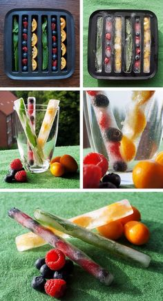 23 Colourful and Tasty Ice Cube Ideas - Obst Fruit Ice Cubes, Flavored Ice Cubes, Ice Cube Trays, Ice Cube Recipe, Healthy Drinks, Healthy Recipes, Cocktail Party Food, Flavor Ice, Fruit Infused Water