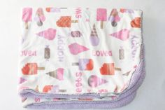Super Soft Sherpa Ice Cream Cone Popsicle Loved Purple Sweet Plush Baby Blanket #SuperSoftSherpa