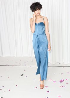 how to style flatforms  & Other Stories   Rachel Antonoff Silk Jumpsuit