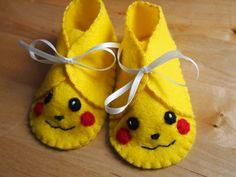 Felt Pikachu Baby Booties. £8.00, via Etsy.