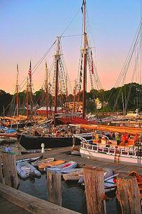 Boats in harbor in Camden, Maine.