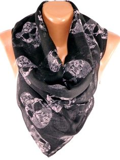 Skull Scarf Day of the Dead Scarf Wrap Black Scarf by ByBosphorus