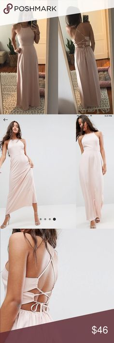 ASOS Blush Pink Maxi Dress w/ Strappy Back Detail This dress is GORGEOUS! Only worn once! I wore it as a bridesmaid dress for a wedding I was in. The material is super lightweight and great for dancing! Asos Dresses Maxi