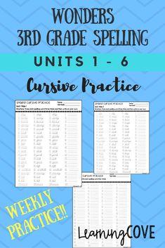 3rd Grade Spelling Words, Spelling Practice, Wonders Reading Series, Mcgraw Hill Wonders, 3rd Grade Reading, Third Grade, Handwriting Analysis, Reading Strategies, Cursive