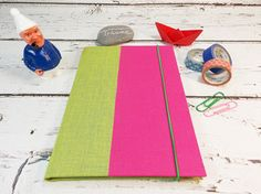 Notebook, green and pink
