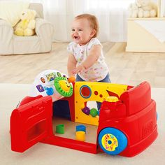 Stationary car encourages baby to sit up, crawl, pull up, stand & move all around for play inside & out!