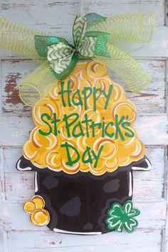 In+Stock+St.+Patrick's+Day+Door+Hanger+St+by+BluePickleDesigns,+$40.00