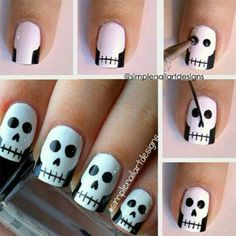 How cute are these skull nails by They're perfect for Halloween! You can also watch her video tutorial to see how to create this simple skull nail art. How are you wearing your nails for Halloween? Skull Nail Art, Skull Nails, Nail Art Diy, Easy Nail Art, Diy Nails, Cute Nails, Pretty Nails, Diy Manicure, Ongles Gel Halloween