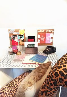 Budget Chic desk space with leopard chair