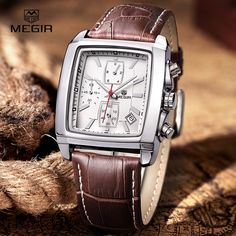 megir fashion casual military chronograph quartz watch men luxury waterproof analog leather wrist watch man free shipping 2028 #>=#>=#>=#>=#> Click on the pin to check out discount price, color, size, shipping, etc. Save and like it!