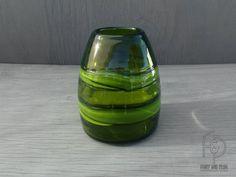 60's-70's Hand Formed Avocado Green Bullet/Beehive Shaped Art Glass Vase