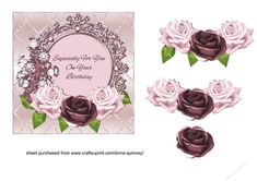 A card front to fit a 6x6in card blank. It has a pale pink metallic background with a trellis pattern and a layered topper decorated with pink roses with a sentiment in the centre