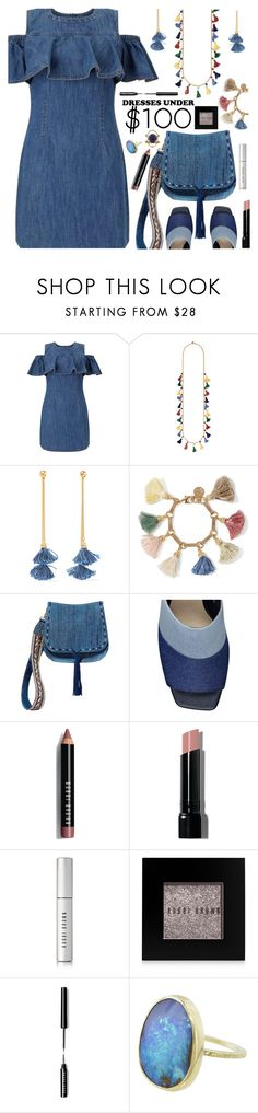 """Denim Ruffle Mini Dress"" by deborah-calton ❤ liked on Polyvore featuring Ben-Amun, Steve Madden, Bobbi Brown Cosmetics, Mociun and under100"