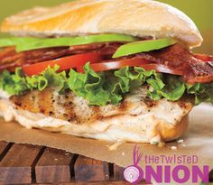 Grilled Chicken BLT with Basil Mayo #recipe (with #Sriracha chile sauce in the mayo too!)