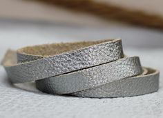 10 mm Gray Silver  Leather Strap ,  Genuine Leather Lace 1 Yard by JLLeatherSupplies on Etsy